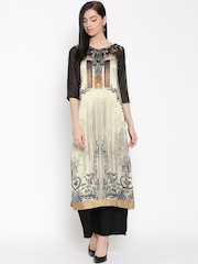 W Women Beige & Black Printed Straight Kurta