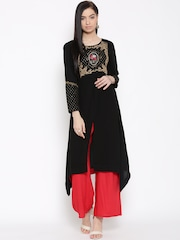 W Women Black Sequinned Detail A-Line Kurta