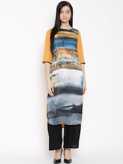 W Women Grey & Yellow Printed Kurta