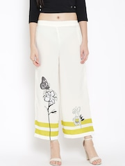 W Women White Printed Palazzos