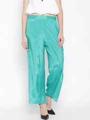 W Women Sea Green Palazzo Trousers