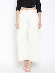 W Women White Solid Palazzo Trousers