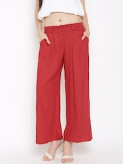 W Women Red Solid Palazzo Trousers