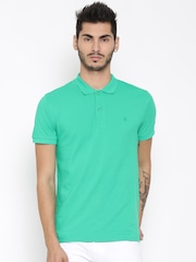 United Colors of Benetton Men Green Solid Polo Collar T-Shirt