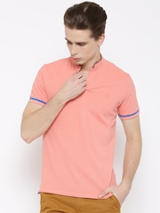 United Colors of Benetton Men Coral Solid T-shirt