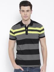 United Colors of Benetton Men Black & Grey Melange Striped Polo T-shirt