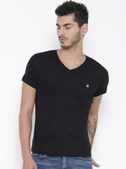 United Colors of Benetton Men Black V-Neck T-shirt