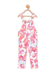Cherry Crumble Girls Pink Printed Dungarees