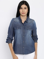Vero Moda Women Blue Faded Casual Shirt