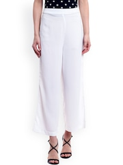PANIT Women White Solid Palazzos