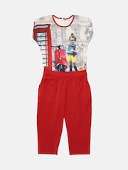 Peppermint Girls Red Printed Jumpsuit