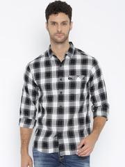 SPYKAR Black & White Checked Casual Shirt