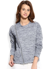 Campus Sutra Blue & Grey Sweatshirt