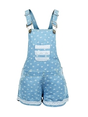 naughty ninos Girls Blue Printed Dungarees