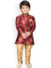 Aj DEZInES Boys Maroon & Cream-Coloured Kurta Pyjama