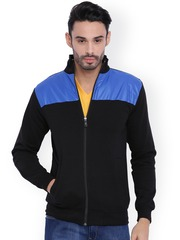 Campus Sutra Black & Blue Colourblocked Bomber Jacket