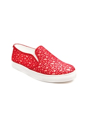 Marc Loire Women Red Textured Loafers