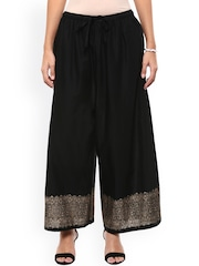 Bhama Couture Women Black Relaxed Fit Palazzo Trousers