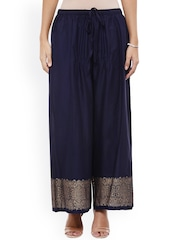 Bhama Couture Women Navy Relaxed Fit Palazzo Trousers