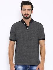 Indian Terrain Men Black & grey Striped T-shirt