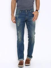 Indian Terrain Men Blue Brooklyn Slim Fit Low-Rise Mildly Distressed Jeans