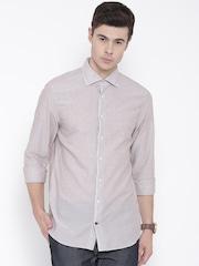 Tommy Hilfiger Men Beige Solid Casual Shirt