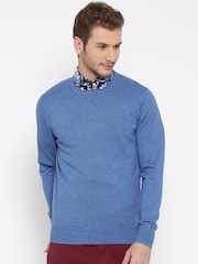 Tommy Hilfiger Men Blue Solid Sweater