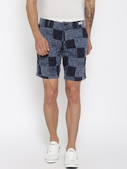 Tommy Hilfiger Men Blue Printed Denim Shorts