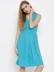 United Colors of Benetton Women Turquoise Blue Solid Fit & Flare Dress