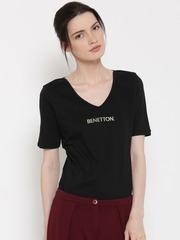 United Colors of Benetton Women Black Printed V-Neck T-shirt