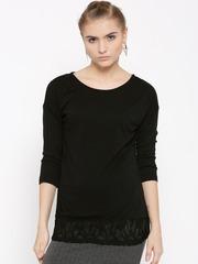 United Colors of Benetton Women Black Lace Detail Top