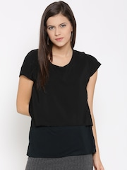 United Colors of Benetton Women Black Solid Layered Top