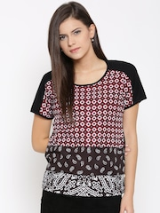United Colors of Benetton Women Black & White Printed Top