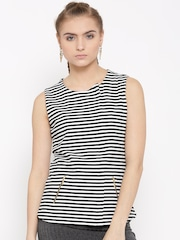 United Colors of Benetton Women Black & White Striped Top