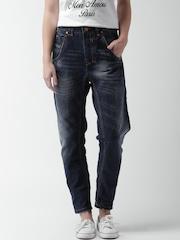 ALCOTT Women Navy Blue Boyfriend Fit Jeans