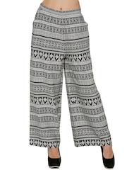 Fusion Beats Women Black & Off-White Printed Palazzo Trousers
