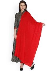 Dupatta Bazaar Red Embroidered Chiffon Dupatta