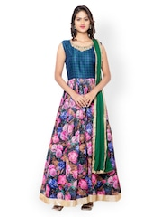 Inddus Blue & Pink Embroidered Unstitched Dress Material