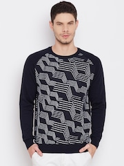 United Colors of Benetton Men Navy Patterned Sweater