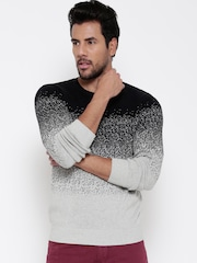 United Colors of Benetton Men Black & Grey Melange Patterned Sweater