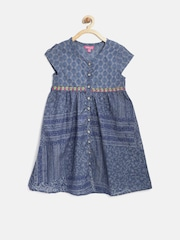 Biba Girls Blue Printed A-Line Kurta