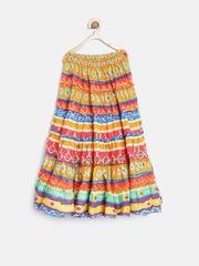 Biba Girls Multicoloured Printed Flared Maxi Skirt