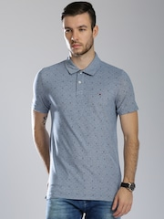Tommy Hilfiger Men Blue Printed Polo T-shirt