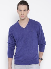 Arrow Sport Men Blue Solid Sweater