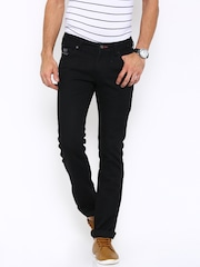 Wrangler Men Black Skanders Fit Low-Rise Clean Look Jeans