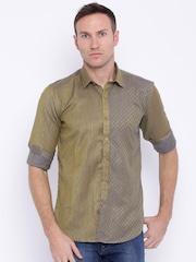 Four One Oh Men Khaki Slim Fit Self-Design Casual Shirt
