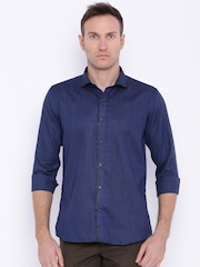 Four One Oh Men Blue Slim Fit Solid Casual Shirt