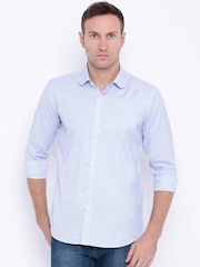 Four One Oh Men Blue & White Slim Fit Casual Shirt