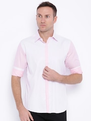 Four One Oh Men Pink Slim Fit Casual Shirt