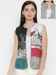 W White & Black Printed Reversible Sleeveless Ethnic Jacket